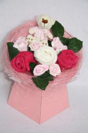 Boeket roze met beertje