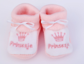 Slofjes Prinsesje roze/wit