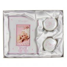 Cadeau set fotolijst met tand en haarlokdoosje roze