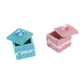 Decoratie opberg doosje - roze/blauw