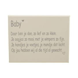 Gedichtje baby canvas wit
