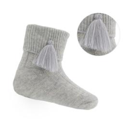 Baby - peuter sokjes met kwastje grijs