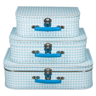 Koffertjes Large lichtblauw ruit (set of los)