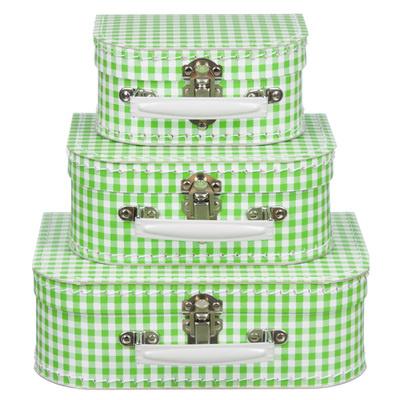 Koffertjes Small appelgroen ruit (set of los)