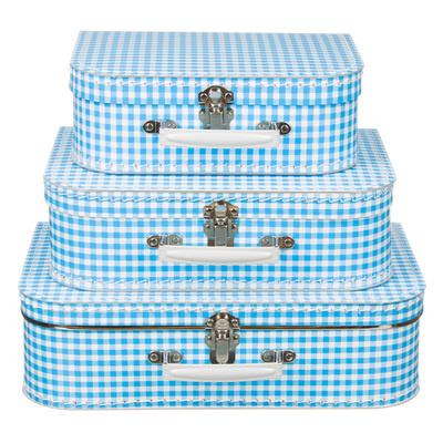 Koffertjes Large blauw ruit (set of los)