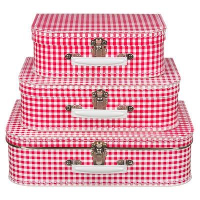 Koffertjes Large rood ruit