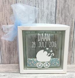 Decoratie glasblok met muisjes geboortekaartje 1 - Prijs vanaf