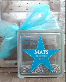 Decoratie glasblok met muisjes geboortekaartje 3 - Prijs vanaf