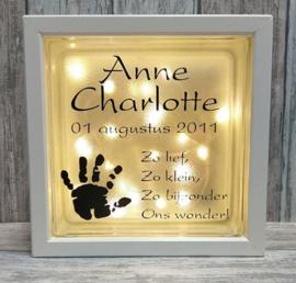 Decoratie glasblok met verlichting geboortekaartje 9 - Prijs vanaf