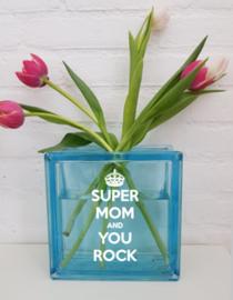 Vaas met tekst (super mom)