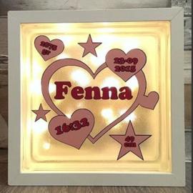 Decoratie glasblok met verlichting geboortekaartje 20 - Prijs vanaf