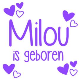 Geboorte raamsticker Milou