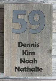Naambordje steigerhout  RVS-look huisnummer