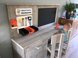 Kinder Werkbank met krijttafel van steigerhout