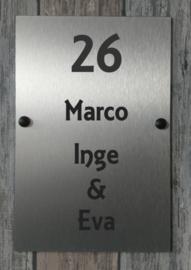 Naambordje voordeur RVS 15x20cm