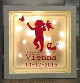 Decoratie glasblok met verlichting geboortekaartje 19 - Prijs vanaf