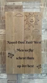 Tekstbord Noord oost zuid west