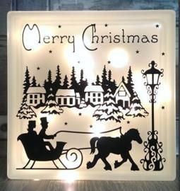 Decoratie glasblok met verlichting wintertafereel Kerst 3 - Prijs vanaf