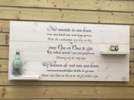 Wandbord steigerhout met tekst Het mooiste in ons leven