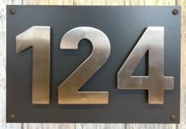 Naambordje voordeur 25x35 RVS cijfers