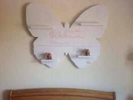 Wandbord steigerhout  Slaap lekker Vlindervorm