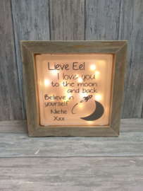 Glasblok met verlichting I love to the moon