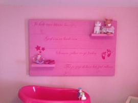 Wandbord steigerhout met tekst babykamer 019