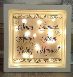 Glasblok met verlichting  namen - Prijs vanaf