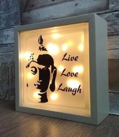 Glasblok met verlichting Life love laugh - Prijs vanaf