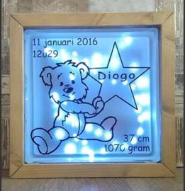 Decoratie glasblok met verlichting geboortekaartje 17 - Prijs vanaf