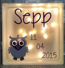Decoratie glasblok met verlichting geboortekaartje 24 - Prijs vanaf
