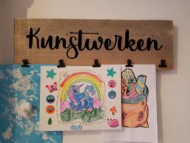 tekeninghouder met klemmen steigerhout
