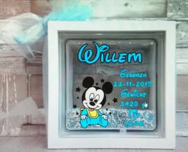 Decoratie glasblok met muisjes mickey Mouse - Prijs vanaf