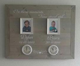 Geboorte wandbord van steigerhout voor 2 kindjes