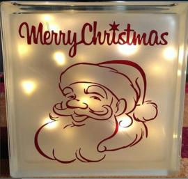 Decoratie glasblok met verlichting Kerstman - Prijs vanaf