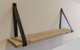 Wandplank met leren plankdrager