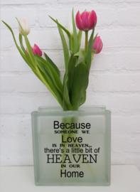 Vaas (mat) met tekst (heaven)