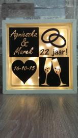 Decoratie glasblok met verlichting Huwelijk - Prijs vanaf