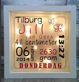 Decoratie glasblok met verlichting geboorte 5 - Prijs vanaf