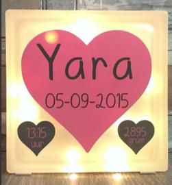 Decoratie glasblok met verlichting geboortekaartje 21 - Prijs vanaf