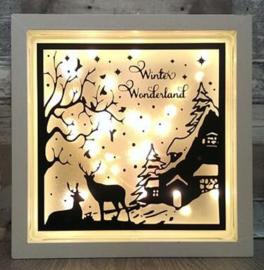 Decoratie glasblok met verlichting wintertafereel Kerst 1 - Prijs vanaf