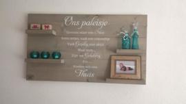 Wandbord steigerhout met tekst Ons paleisje