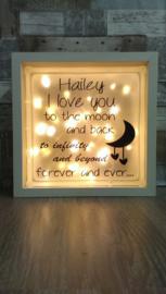 Decoratie glasblok met verlichting I love you to the moon 1 - Prijs vanaf