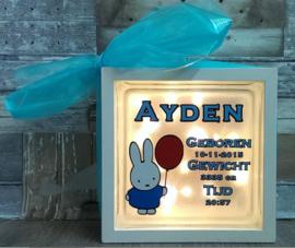 Decoratie glasblok met verlichting geboortekaartje Nijntje - Prijs vanaf