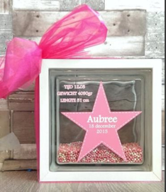Decoratie glasblok met muisjes geboortekaartje 2 - Prijs vanaf
