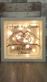 Decoratie glasblok met verlichting Mr&Mrs 3 - Prijs vanaf