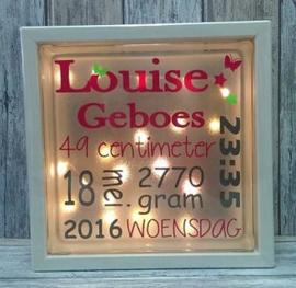 Decoratie glasblok met verlichting geboorte 2 - Prijs vanaf
