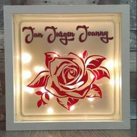 Glasblok met verlichting Roos - Prijs vanaf