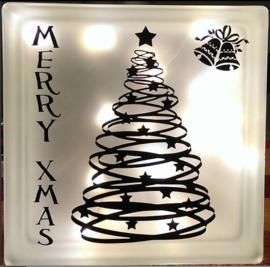Decoratie glasblok met verlichting Kerstboom - Prijs vanaf