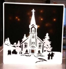 Decoratie glasblok met verlichting wintertafereel Kerst 2- Prijs vanaf